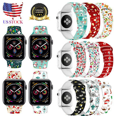 Christmas Replacement silicon Wrist Sport Band Strap For Apple Watch Series 4 3