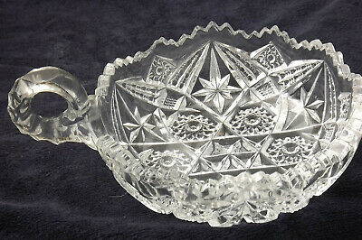 Antique American Brilliant Cut Heavy Clear Glass Handled Nappy Dish