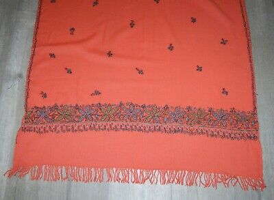 "Vintage 100% Wool Salmon Pink Peasant Embroidery Scarf Craft/Projects 33"" x 60"""