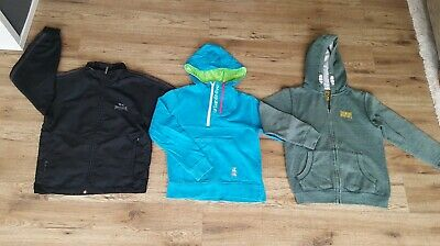 Bundle Of 3 Boys Lonsdale Tu Urban 65 Hooded Zip Tracksuit Top Age 8-9 Years