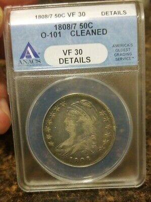 1808/7 Capped Bust Half Dollar Anacs Vf30 Details