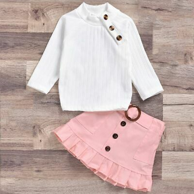 2pcs Toddler Kids Baby Girl Clothes Set Tops T Shirt Mini Skirts Outfit Party US