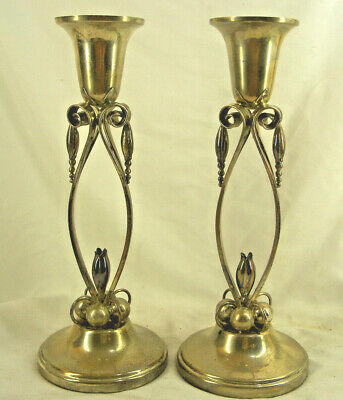 """Pair Sterling Silver Candlesticks Art Nouveau by """"Eastern"""""""