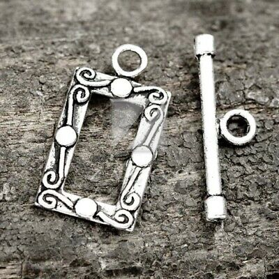 30pcs Tibetan Silver Bar Ring Toggle Clasps Connector Jewellery Making Wholesale