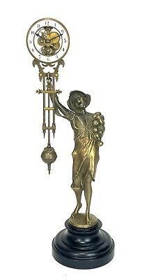 German Style Junghans Onion Boy Swinging Swinger Clock w 8 Day Skeleton Movement
