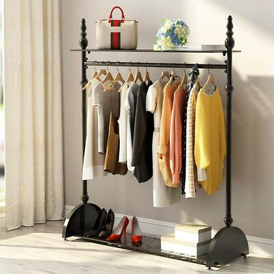 Heavy Duty Hanging Clothes Garment Rail with Shoe Rack Shelf & Hat Stand 2 Color