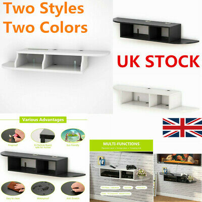 Rugged Wooden Floating Wall Mount Shelves Display Unit MDF Shelf TV Console UK