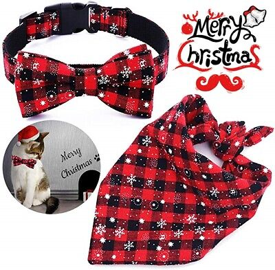 Christmas Pet Dog Cat Neck Tie Collar Adjustable Costume Xmas Party Outfit UK