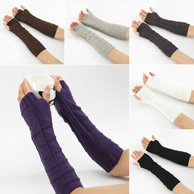 Soft Elastic Candy Color Long Knitted Gloves Fingerless  Mittens Arm Warmers