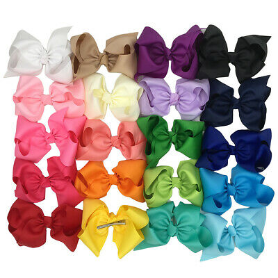 8 Inch Baby Girls Bow Knot Boutique Hair Clips Alligator Clips Ribbon Headband