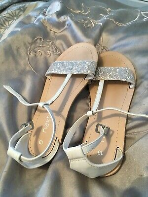 Girls Next Sparkly White & Silver Strappy Sandals Ideal Christmas Party Size 13