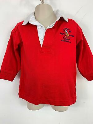 Boys Polo Ralph Lauren Red Long Sleeved Rugby Polo Shirt Top Kids Age 18 Months