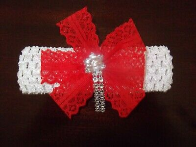 Romany bling Baby / Girls white Crochet  Headband with red lace + large gem.