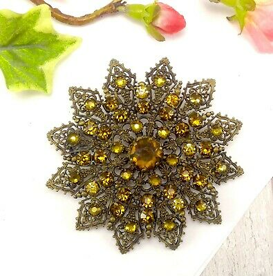 Vintage Large Art Deco Czech Filigree Flower Brooch with Golden Stones