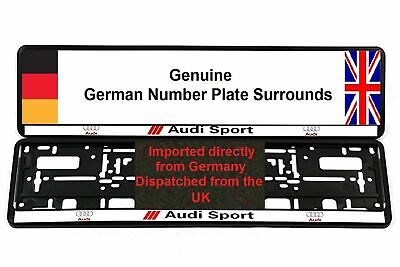 AUDI SPORT SILVER NUMBER PLATE SURROUNDS x 2