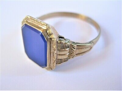 Antique Seal Ring Gold 585 with Blue Stone, 3,19 G