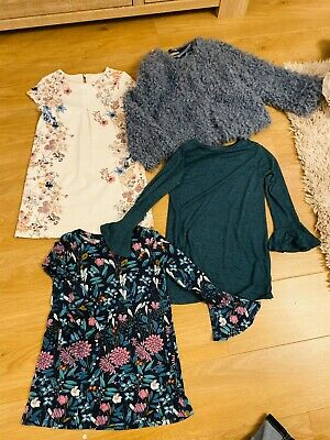 NEXT GIRLS WINTER CLOTHES BUNDLE AGE 7 - FLUFFY JACKET Dress & Tops Christmas