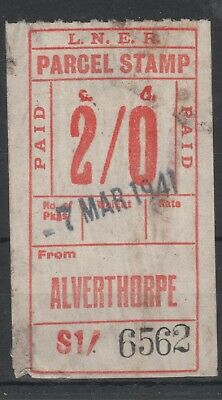 London & North Eastern Railway 2/- Red Parcel Stamp Used Alverthorpe 1941