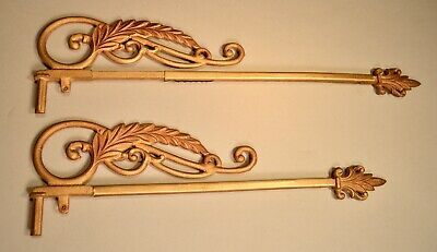 Antique Gold Leaf Swing Arm Adjustable Curtain Rods Drapery Rods Window Hardware