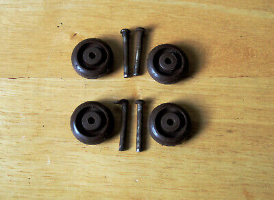4 Wheels & 4 Axle Pins for Antique Singer Sewing Machine Cast Iron Treadle Base