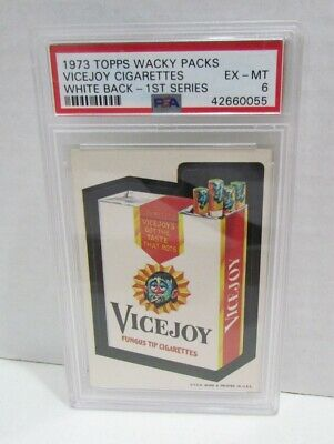 Topps 1973 Wacky Packs Wacky Packages Vicejoy Cigarettes White Back Psa 6 Ex-Mt