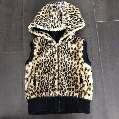 juicy couture Girls Hooded Vest Faux Fur Cheetah Leopard Animal Print Size 4