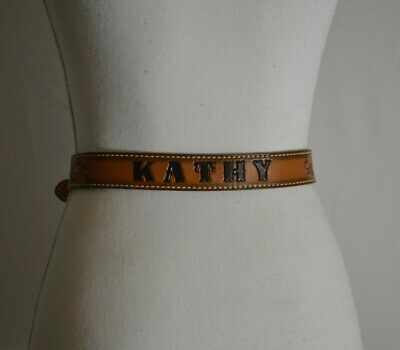 Dun Dee Child western belt Kathy Personalized Brown Floral Tooled Rodeo Women's