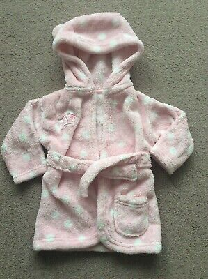 Baby Girls Age 0-6 Months Pink Mix Fleece Long Sleeve Dressing Gown