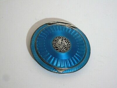 Vintage Sterling Silver 925 Make Up Compact Case Blue Guilloche Enamel Austria