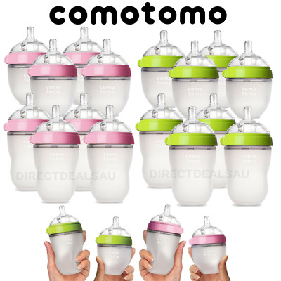 Comotomo Natural Silicone Baby Bottle 150ml 250ml Pink Green 2 or 4 Set NEW