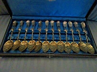 GORHAM Coffee Spoons 1885 SET of 12 No 44 IVY STERLING SILVER Starr Marcus SPOON