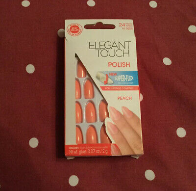 ELEGANT TOUCH False Nails - Polish - Peach - 24 Nails 10 Sizes - Super Flex Tech