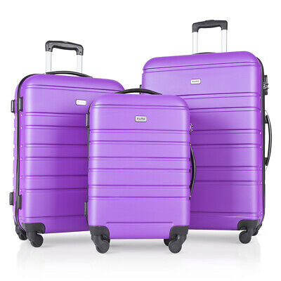 "3 PCs Hardside Travel Luggage Sets Spinner Wheels Suitcase 20"" 24"" 28"" Purple"