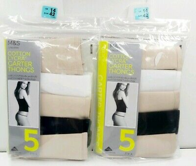 M&S Size 14 Garter Thongs 10 Pairs Cotton White Nude Black New Marks And Spencer