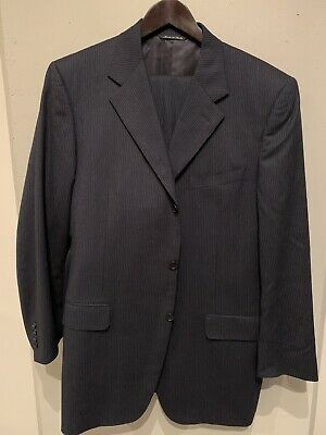 Canali Suit 44 Long 120's Wool Navy Blue Chalk Pinstripe 2 Piece (38x32.5)