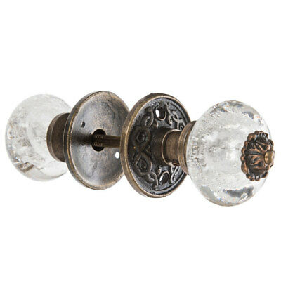 Bubble Glass Knob Door Pull Old Fashion Ornate Handle Antique Bronze Finish