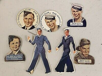 7 Australia Ww2 Appeal Day Badges Toc H Soldiers Sailors Airmen War Service Fund
