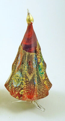 New Murano Millefiori Red Gold Christmas Tree Italian Art Glass Of Venice
