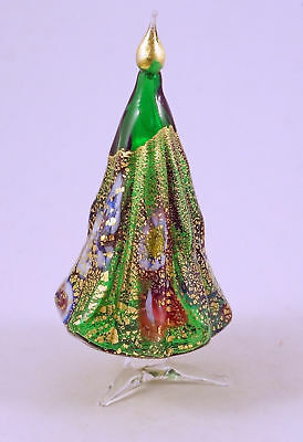 New Murano Millefiori Green Christmas Tree Italian Art Glass Of Venice