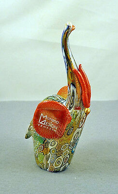 New Sticker Murano Millefiori Elephant Figurine Italian Art Glass Of Venice