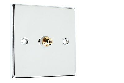 RCA Sub Woofer Audio / AV Wall Plate - Polished Chrome With Gold Connections
