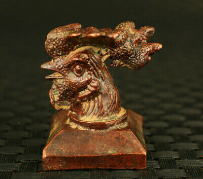 unique chinese old  bronze hand cast cock head blessing statue seals