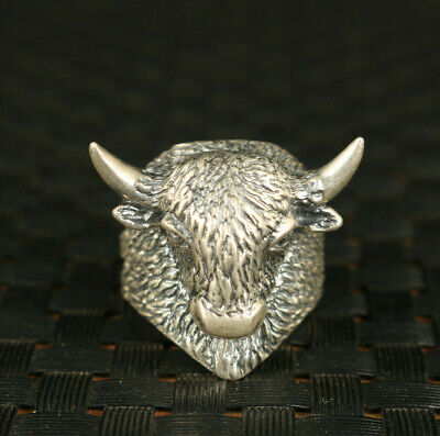 S925 Solid silver hand carved  cow head ring collectable noble gift