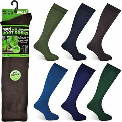 Mens Gents Long Length Easy Grip Top Cushioned Wellington Welly Boot Socks 7-12