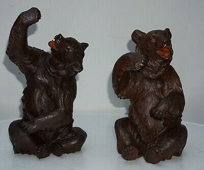 Antique Brienz Black Forest Large Couple Of Sitting Bears:1880