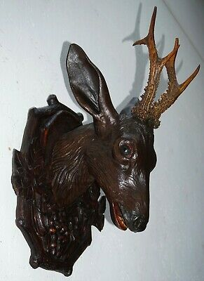 Antique Black Forest Wood Carved Roebuck Head