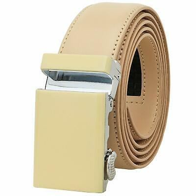 Falari Men Unisex Genuine Leather Ratchet Dress Belt Automatic Sliding Buckle -