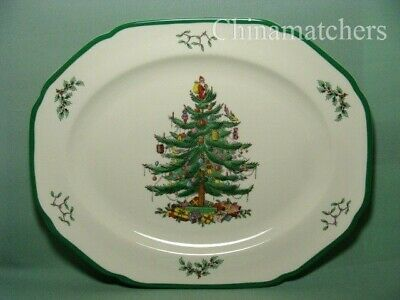 "Spode Christmas Tree 14 3/4"" Large Oval Platter In Very Good Condition"