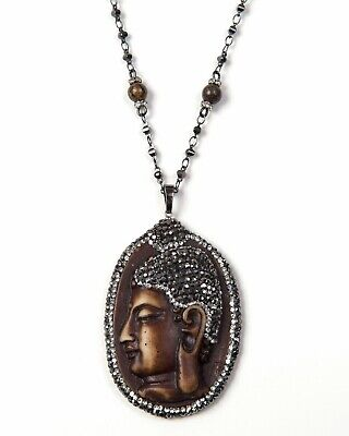 Hand Carved Buddha Pendant Chain Necklace with Tiger's Eye Beads, 32 inches