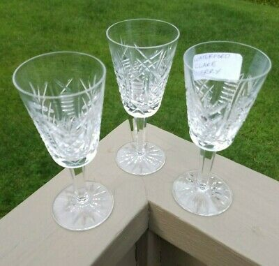 3 Signed WATERFORD CUT CRYSTAL Sherry Glasses CLARE Pattern Liquor Drink Wine